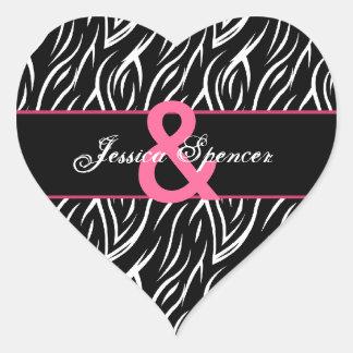 La cebra rosada blanca negra raya el boda pegatina en forma de corazón