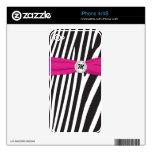 La cebra rosada blanca negra raya la piel de iPhon iPhone 4 Skins
