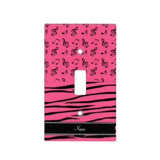 La cebra rosada conocida de encargo raya notas placas para interruptor