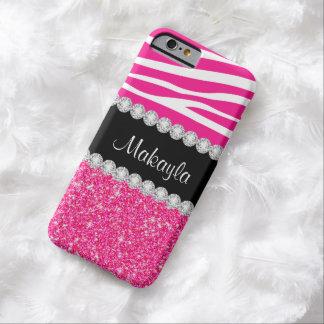 La cebra rosada de encargo del brillo raya la caja funda de iPhone 6 barely there