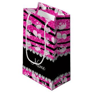 La cebra rosada del brillo raya el globo de la bolsa de regalo pequeña