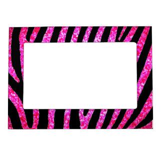 La cebra rosada del brillo raya el marco magnético marcos magnéticos para fotos