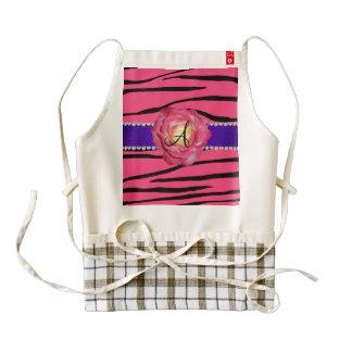 La cebra rosada del monograma raya color de rosa delantal zazzle HEART