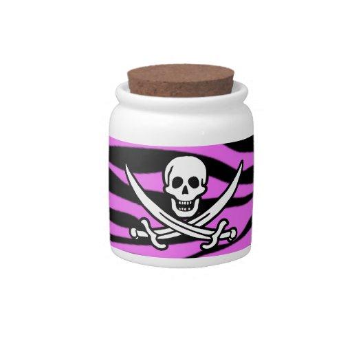 La cebra rosada fucsia raya el estampado de animal tarro de cerámica para dulces