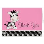 La cebra rosada linda le agradece las tarjetas