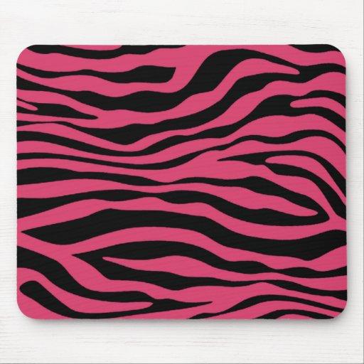 La cebra rosada oscura raya el estampado de animal alfombrilla de ratones