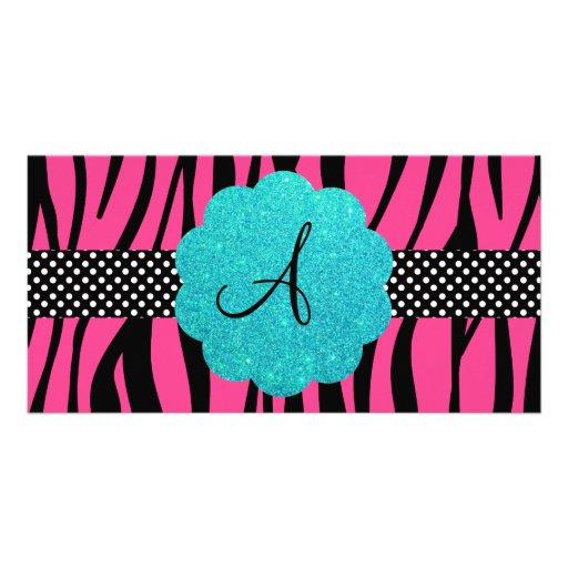 La cebra rosada raya el monograma tarjeta personal