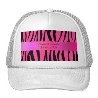 La cebra rosada raya favores del boda gorras