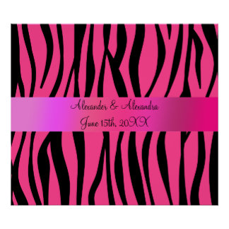 La cebra rosada raya favores del boda póster