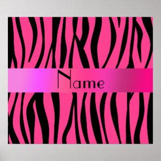 La cebra rosada raya la raya rosada póster