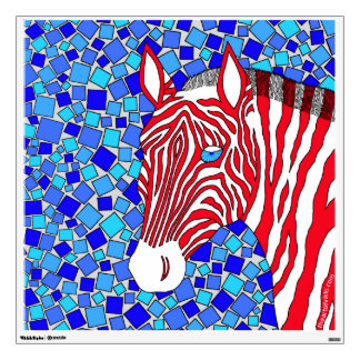 La cebra rosada y negra raya el mosaico colorido