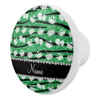 La cebra verde del brillo raya el globo de la pomo de cerámica