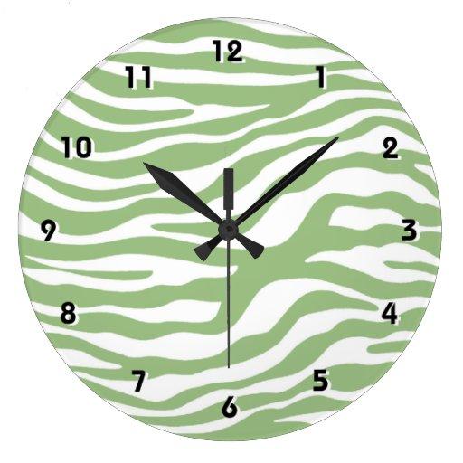 La cebra verde del laurel raya el estampado de ani reloj redondo grande