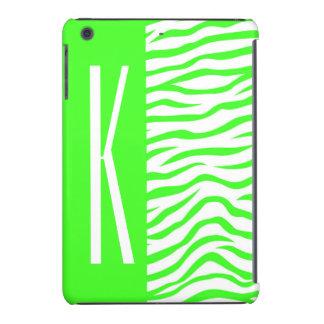 La cebra verde y blanca de neón raya el estampado funda para iPad mini retina