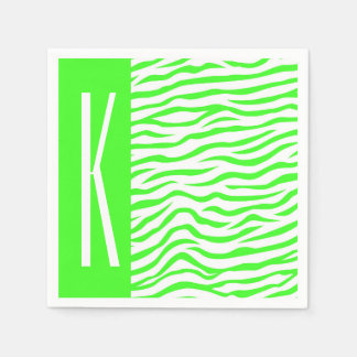 La cebra verde y blanca de neón raya el estampado servilleta desechable