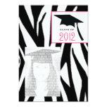 La cebra y la clase rosada de la foto 2012 de la invitación 12,7 x 17,8 cm