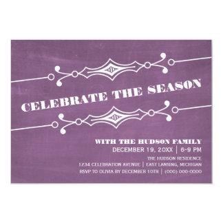 """La celebración de días festivos inclinada púrpura invitación 5"""" x 7"""""""