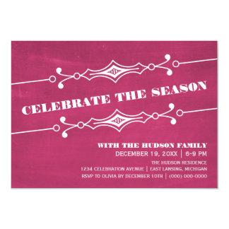 """La celebración de días festivos inclinada rosa de invitación 5"""" x 7"""""""