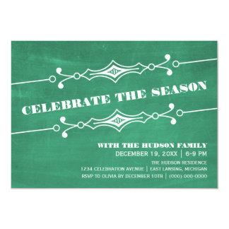 """La celebración de días festivos inclinada verde de invitación 5"""" x 7"""""""