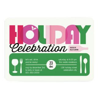 "La celebración de días festivos moderna colorida invitación 5"" x 7"""