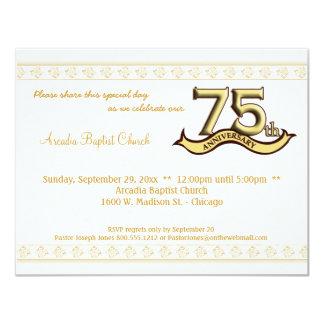 """La celebración del aniversario del damasco 75.o invitación 4.25"""" x 5.5"""""""