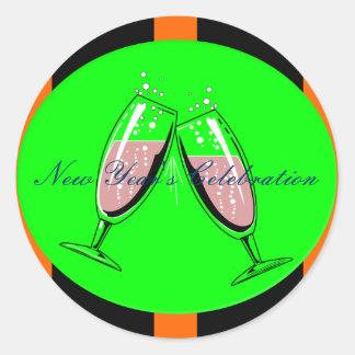 La celebración del Año Nuevo Pegatina Redonda
