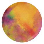La cena abstracta de los colectores de los colores platos