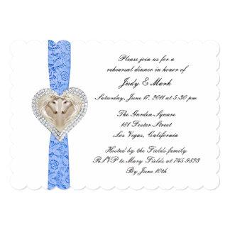"""La cena azul del ensayo del boda del cordón del invitación 5"""" x 7"""""""