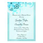 La cena azul del ensayo del boda del hibisco invit invitacion personal