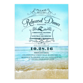 """La cena azul del ensayo del ombre de la playa invitación 5"""" x 7"""""""