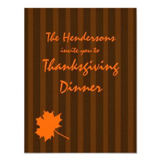 """La cena de la acción de gracias de las rayas de la invitación 4.25"""" x 5.5"""""""