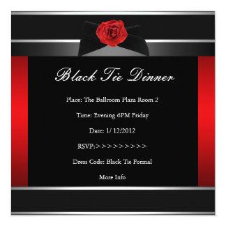 """La cena de lazo negro roja formal corporativa invitación 5.25"""" x 5.25"""""""