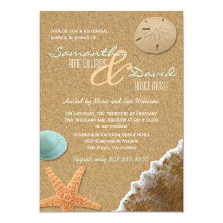 La cena del ensayo de la arena y de la playa de invitación 12,7 x 17,8 cm