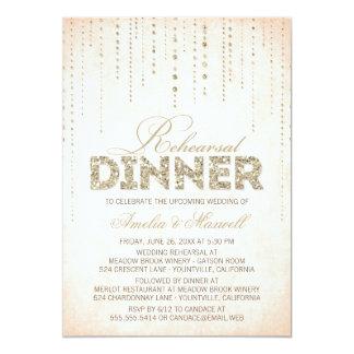 La cena del ensayo de la mirada del brillo del invitacion personal