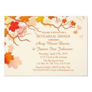 """La cena del ensayo de las hojas de otoño invita a invitación 4.5"""" x 6.25"""""""