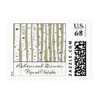 La cena del ensayo del árbol de abedul elige el timbre postal
