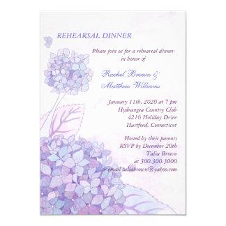La cena del ensayo del boda del ramo del Hydrangea Invitación 12,7 X 17,8 Cm