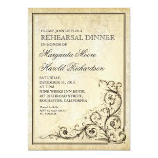 """La cena del ensayo del vintage invita a remolinos invitación 5"""" x 7"""""""