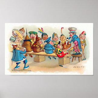 La cena del navidad del brownie póster