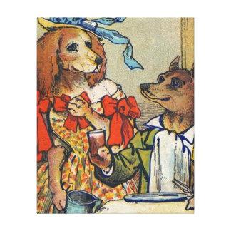 La cena del perro viste para arriba el vintage impresión en tela