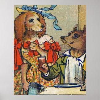 La cena del perro viste para arriba el vintage póster