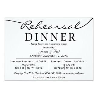 """la cena elegante blanca negra del ensayo de la invitación 5"""" x 7"""""""