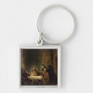 La cena en Emmaus, 1648 (aceite en el panel) Llavero Cuadrado Plateado