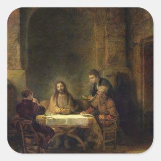 La cena en Emmaus, 1648 (aceite en el panel) Pegatina Cuadrada