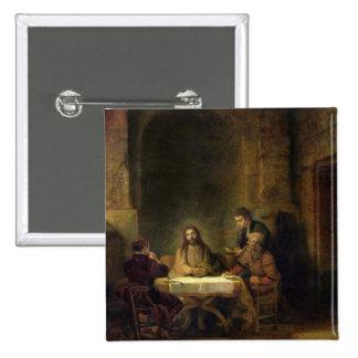 La cena en Emmaus, 1648 (aceite en el panel) Pin Cuadrada 5 Cm