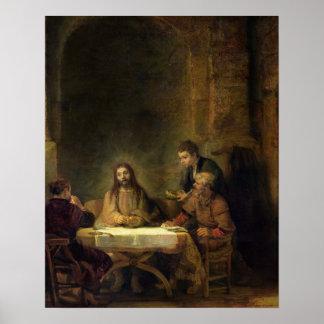 La cena en Emmaus, 1648 (aceite en el panel) Póster