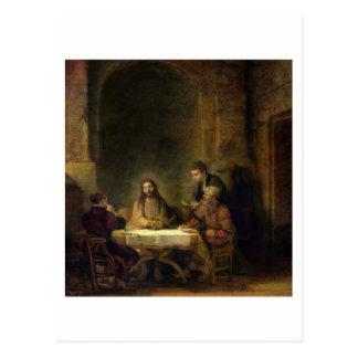La cena en Emmaus, 1648 (aceite en el panel) Tarjeta Postal