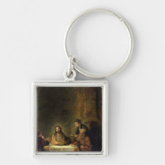 La cena en Emmaus, 1648 Llavero Cuadrado Plateado