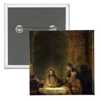 La cena en Emmaus, 1648 Pin Cuadrado