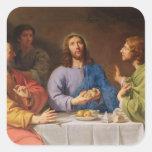 La cena en Emmaus Pegatina Cuadrada
